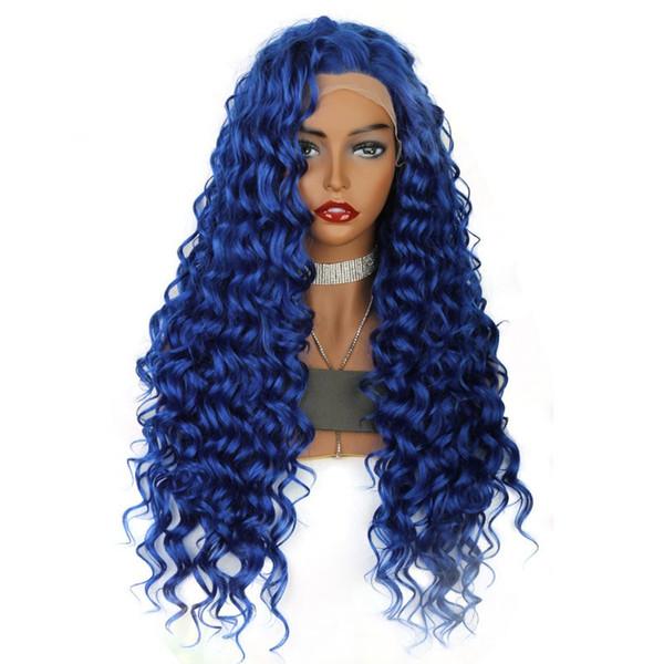 Nuevo 180% de densidad Largo rizado rizado Color azul Pelucas de cosplay Partida libre Pelucas delanteras de encaje sintético resistente al calor para mujeres blancas Drag Queen