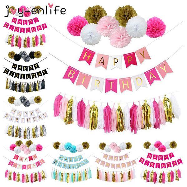 Joy -Enlife Birthday Party Decoration Paper Flower Ball Tassels Boy Girl Happy Birthday Banner Baby Shower Kids Party Supplies