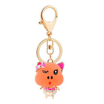 Bulk Lots 4 Colors Resin Pig Luxury Keychain Acce for Handbag Bag DIY Jewelry Phone Pendant Car Accessories Mothers Day Gift