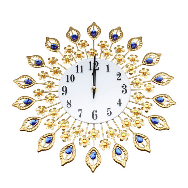 Modern Gold Flowers Large Living Room Wall Clock Metal Wall Watch Home Decor