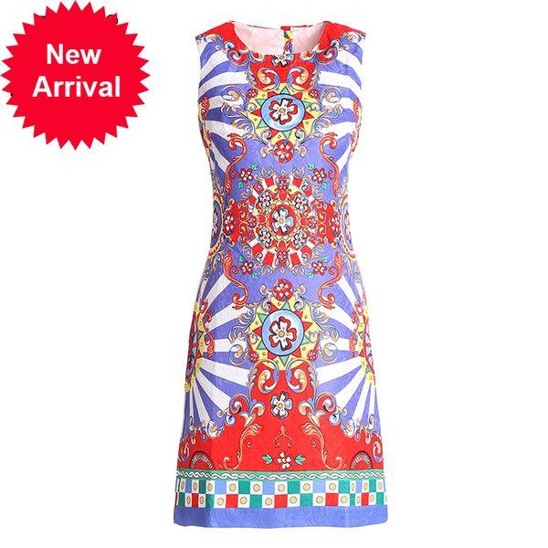 New 2018 Fashion Runway Summer Dress Women's Sleeveless Tank Vintage Casual Floral Print Mini Dress vestidos