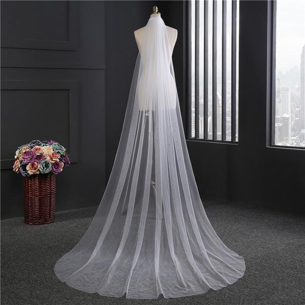 2018 Simple White Crocheted Veus De Noiva Veil One-Layer 3m Cut Edge Brides Veil Luxury Wedding Accessories