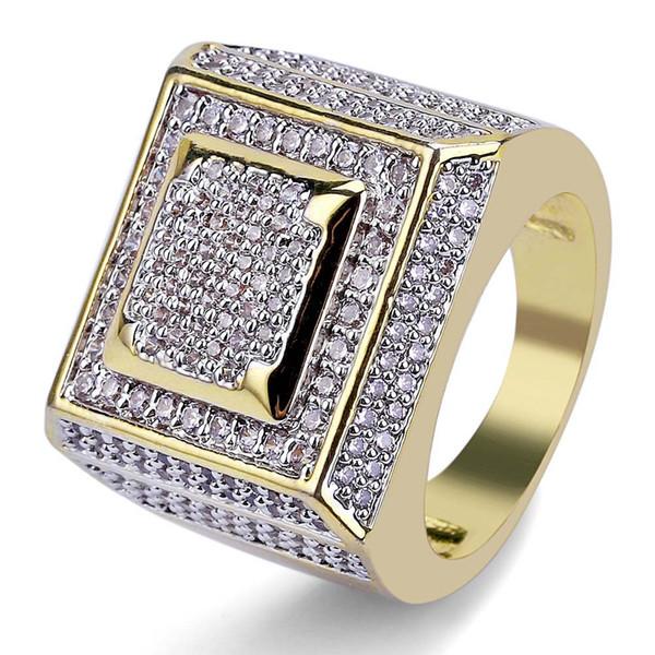 Anello di zircone micropalo placcato oro per uomo di alta moda anello hiphopbling anello pieno di diamanti CZ titanio stell