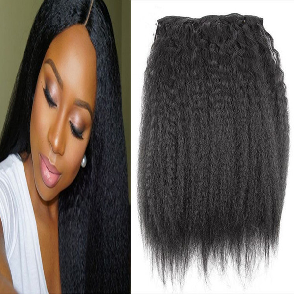 top popular Kinky Straight Clips In Brazilian Human Hair Extensions 120g 10pcs Set Coarse Yaki Clip Ins Machine Made Remy 2019