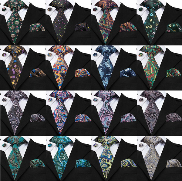 Mens Fashion Casual Neck Tie Set Beautiful Floral Silk Necktie High Quality Classic Length Tie with Cufflinks and handkerchief