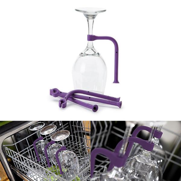 4 Adet / takım Stemware Tasarrufu için Benzersiz Mutfak Temizleme Aracı Silikon Şarap Cam Tutucu Bulaşık Yıkama Esnek Bulaşık Makinesi Eki