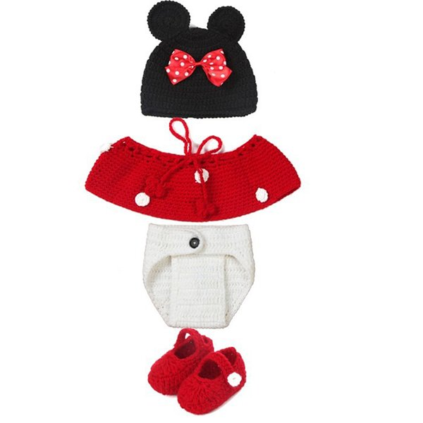 Mouse Ears Baby Photography Props Knitting Hat Crochet OutfitGirls Bow Hat Photo Accessories Clothing