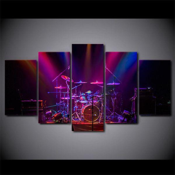 LARGE 5Panels Music Drum Print Purple Concert Giclee Canvas Prints Home Decor interior (No Frame)