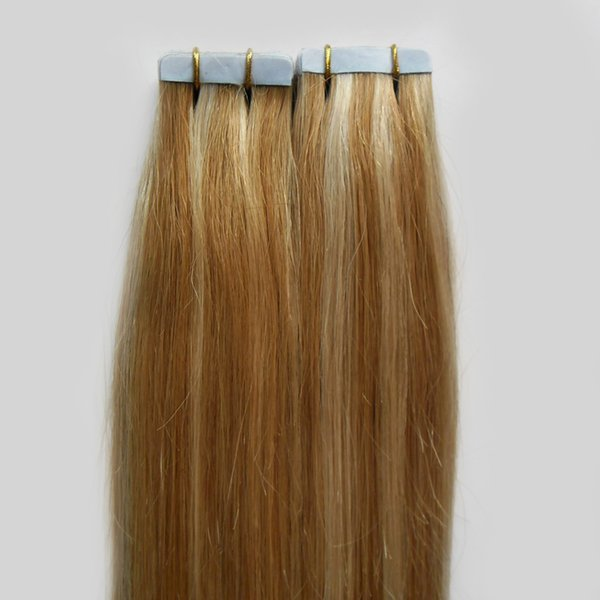 """10-26"""" Indian Remy Tape In Hair Human Skin Weft 40pcs P27/613 Tape In Hair Extensions Straight 100g Tape Hair Extensions"""