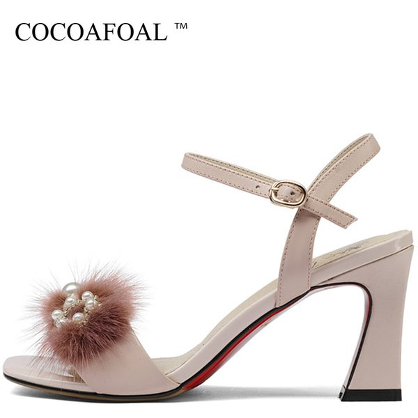 wholesale Woamn Genuine Leather Heels Sandals Big Size 33 43 Peep Toe Sexy Shoes Pink Beige Party Open Toe High Heels Sandals
