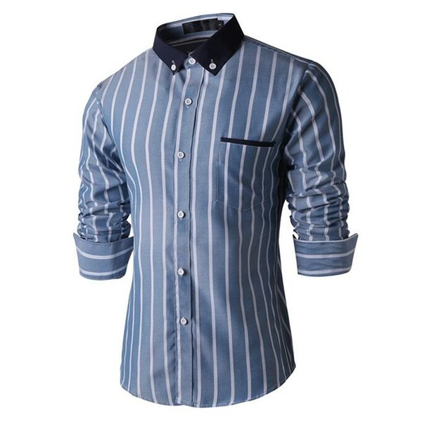 Fashion Big Striped Male Blouse Business Man Office Casual Long Shirt Tide Men Summer Holiday Streetwear Tops Pocket Shirts 2018