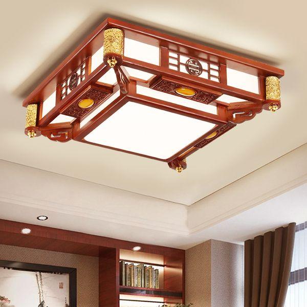 Großhandel Neue Stil Wohnzimmer Led Lampe Massivholz Led Deckenleuchte  Minimalistischen Rechteckigen Archaize Lampe Chinesischen Esszimmer ...