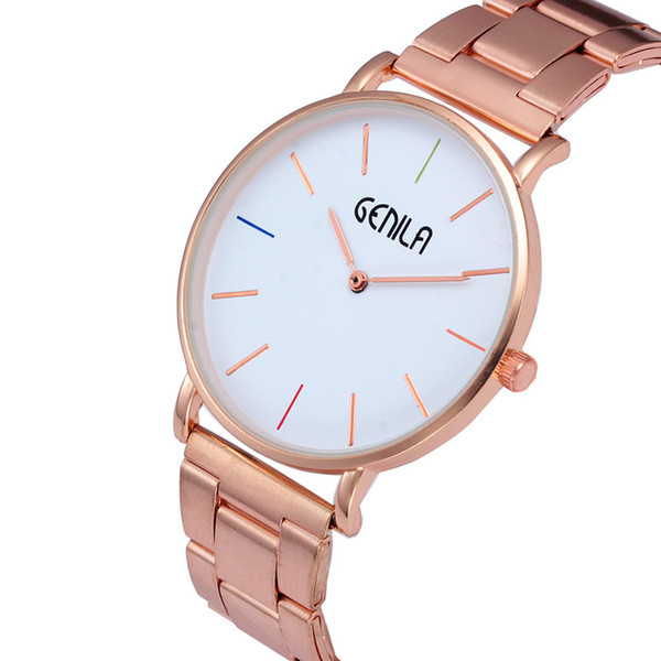 Fashion Mens Watch Rose Gold Slim Alloy Steel Minimalist Wrist Watches Women GENILA Quartz Sports Watches Clock Hours