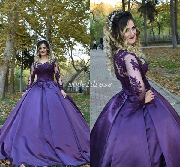 2019 Arabic Purple Ball Gown Quinceanera Dresses Long Sleeve Sweep Train Appliques Prom Party Gowns For Sweet 15 vestidos de 15 anos