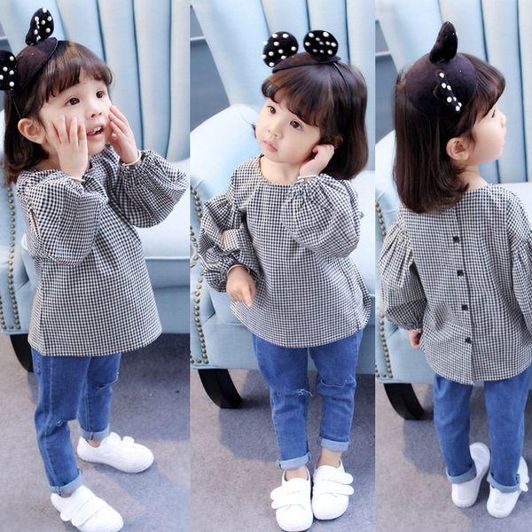Girl's shirt 2017 autumn new woman baby pure cotton plaid shirt for children autumn blouses 10pcs/loyt drop shipping