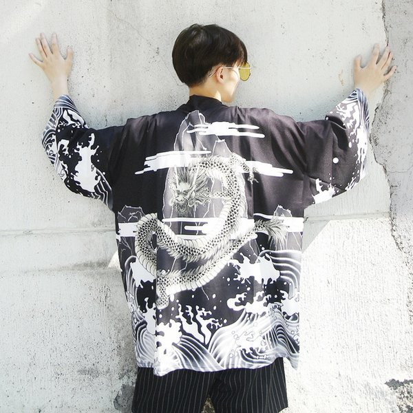 Zongke Dragon Kimono Cardigan Herren Sommer Long Kimono Cardigan Herren Traditional Japanese Male Open Stitch Jacket