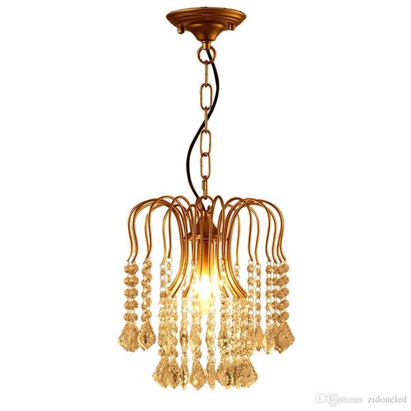 American classical iron crystal chandelier lights K9 crystal pendant lighting fixtures golden chandeliers home decor E14 holder