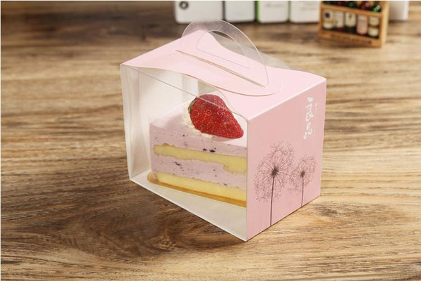 12X8X10CM PVC Cake Box Portable Transparent Window Display Pastry Biscuit Cupcake Boxes Baking Packaging Case 75pcs