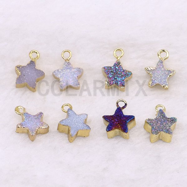 10 pcs natural geode pendant crystal star druzy necklace pendant geometric jewelry wholesale jewelry for women gift 3601