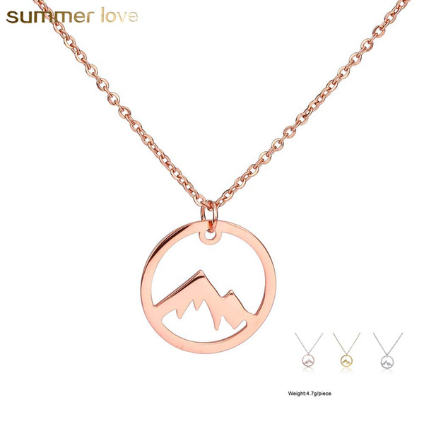 New Rose Gold Color Stainless Steel Circle Snowy Mountain Necklace For Women Mountain Top Range Landscape Necklace Mountains Are Calling