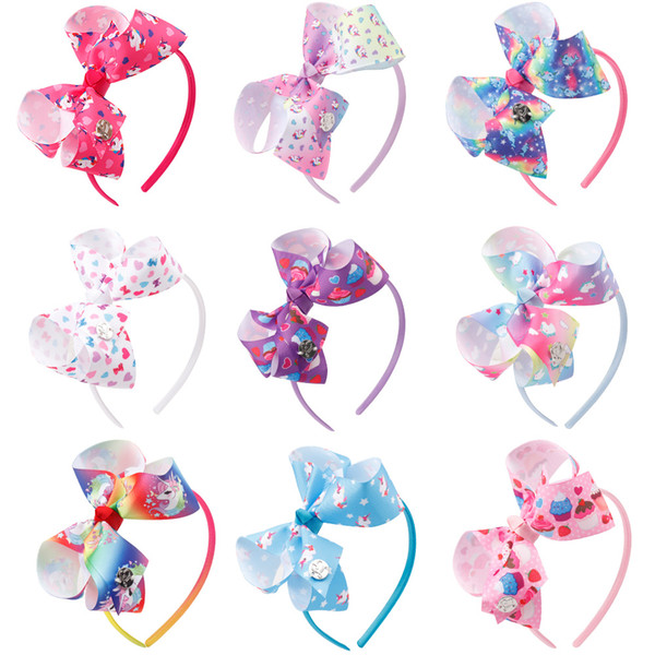 Kids Lovely Printed Hair Bows Hair Bands Top Knot Princess Pink Headband For Girls Unicorn Party Head Hoop Hair Accessories