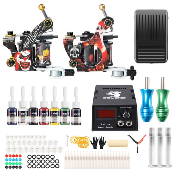 Solong Tattoo Machine Kit 2 Pro Machine 7 Inks Tattoo Gun Kit For ...