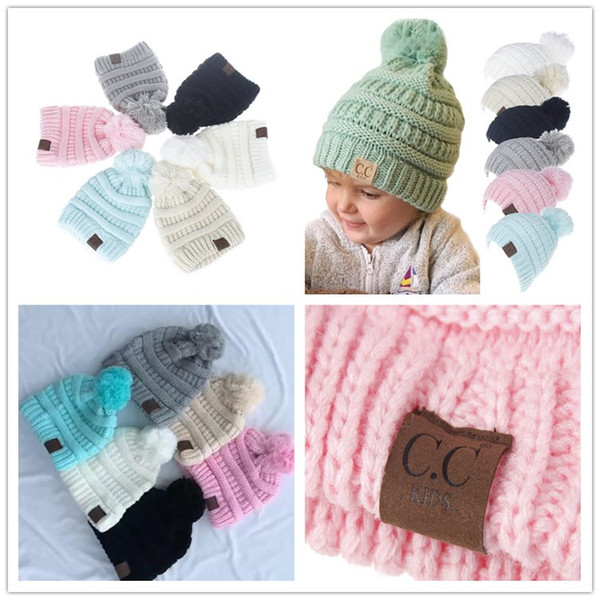 Baby Girls Winter CC Beanie kids baby Pom crochet hats Beanies Ball top brand CC warm Snow Cap boys sports Casual Outdoor Hairball Hat