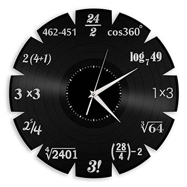 University Mathematical Elements Vinyl Creative Quartz Wall Classroom Home Decor Wall Art Clock (Size: 12 inches, Color: Black)
