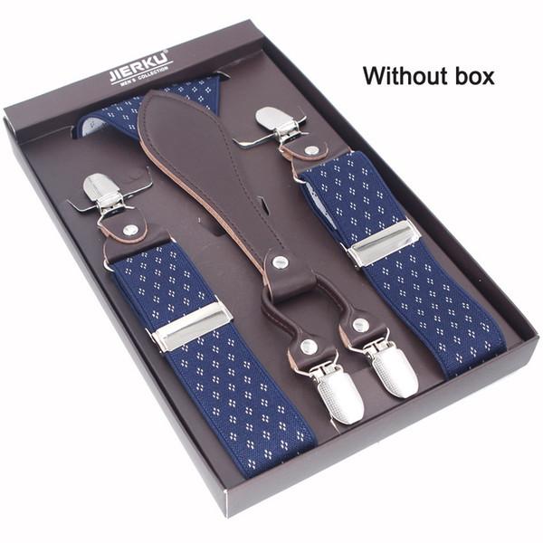 JIERKU Man's Suspenders Leather Braces 4Clips Suspensorio Outdoor Motorcycles Belt Trousers Strap Adjustable 3.5*110cm