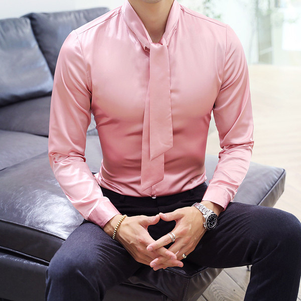 2018 Shirts Men Pink Camisa Masculina Slim Fit Shirts for Mens Silk Mens Tuxedo with Tie Dress Long Sleeve Club Outfits