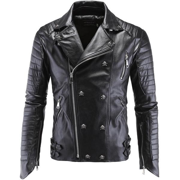 2018 hombres de la nueva llegada de la marca chaqueta de cuero de la motocicleta de los hombres de gama alta Boutique Punk Jacket 5XL