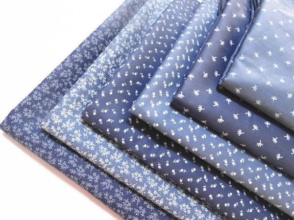 3pcs Denim color Dark Blue Floral Patchwork Cotton Fabric Fat Quarter Bundle Needlework Sewing Quilt fabric For Bag Baby Clothes