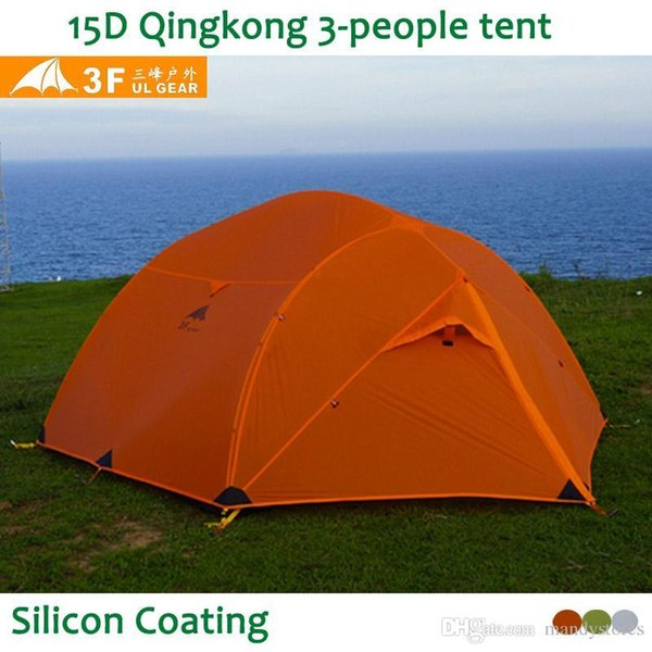 Wholesale- 3F UL Gear Qinkong 15D silicon Coating 3-person 3-Seasons Camping Tent with Matching Ground Sheet