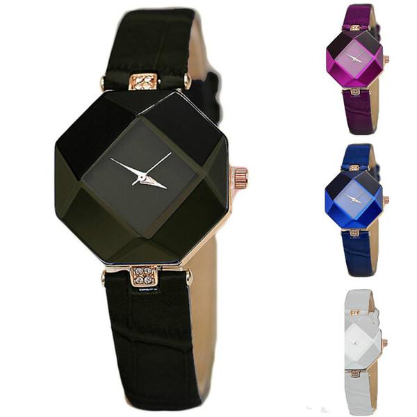 2018 venta al por mayor caliente nueva moda mujer banda de cuero analógico diamante cuarzo reloj de pulsera chica belleza relojes 5 colores
