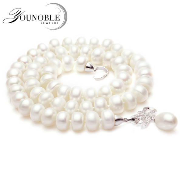Genuine natural pearl necklace pendant jewelry real wedding freshwater pearl necklaces women birthday anniversary best giftY1883002