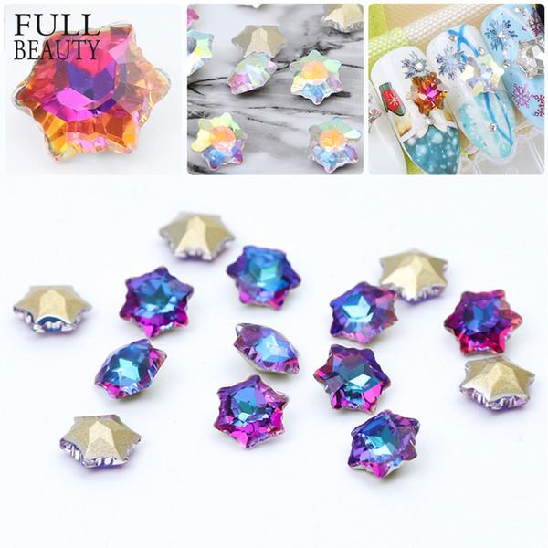 Full Beauty 10pcs AB Glitter Rhinestone Nail Crystal Stone Star Snow Flower Shape Christmas Romantic Decor Nail Art Stone CH703