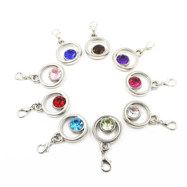 50pcs Mixs Colors Crystal CCB Round Dangle Charms With Lobster Clasp Charms Fit Bracelet Flaoting Charms DIY Jewelry