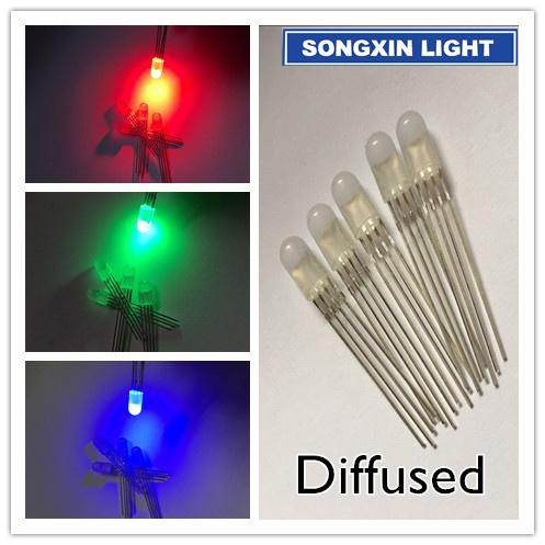 20pcs 5mm RGB LED Common Cathode Tri-Color Emitting Diodes f5 RGB Diffused 5mm led red green blue colorful
