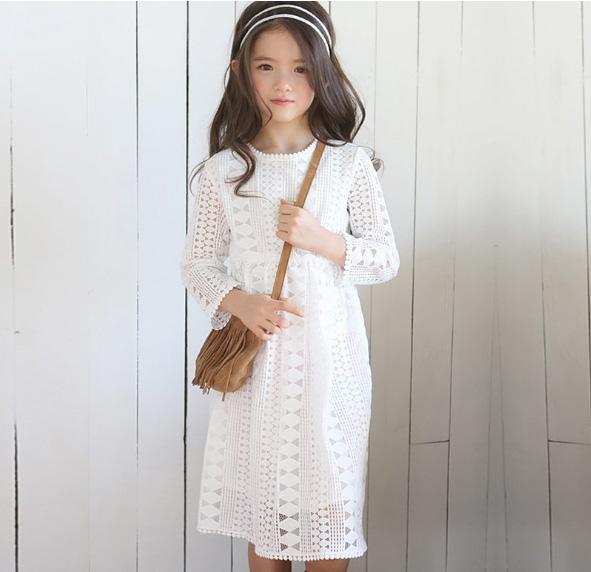 2018 Spring Girls Lace Dress Kids Clothing Flower Korean Fashion Long Sleeve Cotton Princess Dress