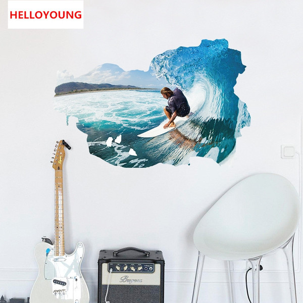 DIY Surf Wall Stickers Artistic Background Wallpapers Art Mural Waterproof Wall Stickers Home Decor Art Mural Waterproof