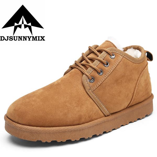 DJSUNNYMIX Marca 2017 zapatos de invierno de gamuza sintética para hombre botas de nieve pisos impermeables de los hombres de invierno cálido botines zapatos de moda