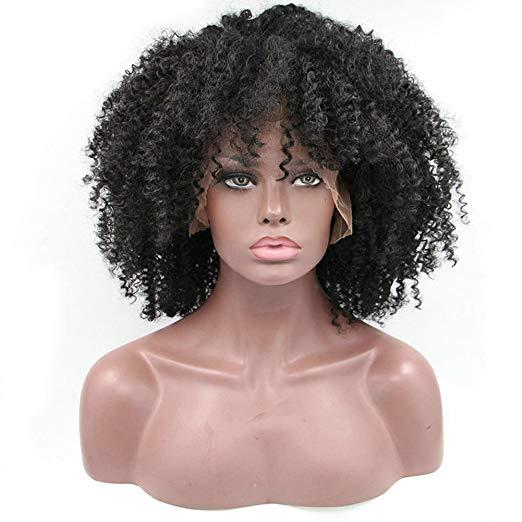 """16"""" African Coarse Curly Pre Plucked 360 Lace Frontal Wig 180% Density Virgin Mongolian Afro Kinky Curly 4b 4c Human hair Wig"""