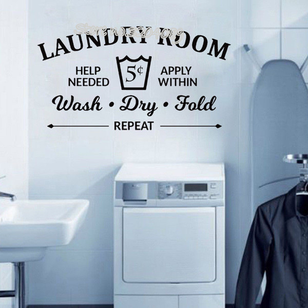 Laundry Room Rules Wall Sticker Wash Dry Fold Vinyl Wall Decal balcony Bathroom Quote Removable custom made Art wallpaper EA037