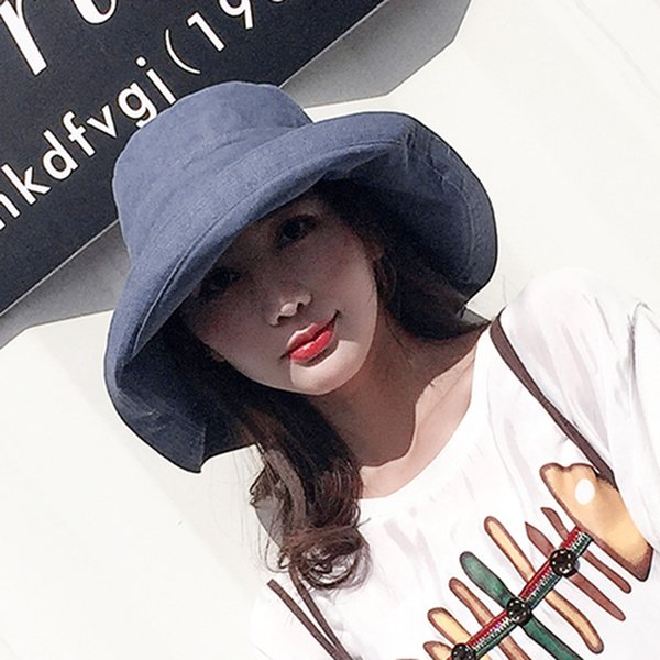 10fd121d3 ZJBECHAHMU Hats Casual Vintage Solid Polyester Sun Hat For Women Girl New  Summer Outdoor Beach Hat Foldable Bucket Large Caps D18103006 Church Hats  ...