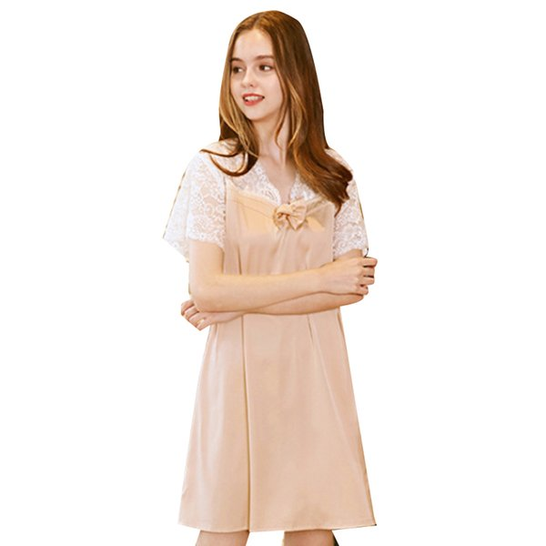 Sleep Tops Womens Sleep 2018 Summer Casual Comfortable Silk Short Solid Bow Lace V Neck Sexy Nightdress Tracksuit Tops