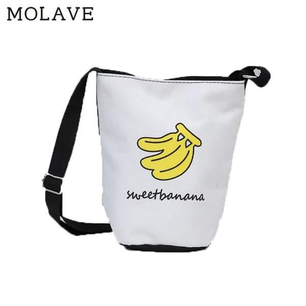 MOLAVE Handbag bag female Solid bags for women Zipper Bucket Lovely College Wind Canvas Bucket Messenger Cartoon Bag Mar1