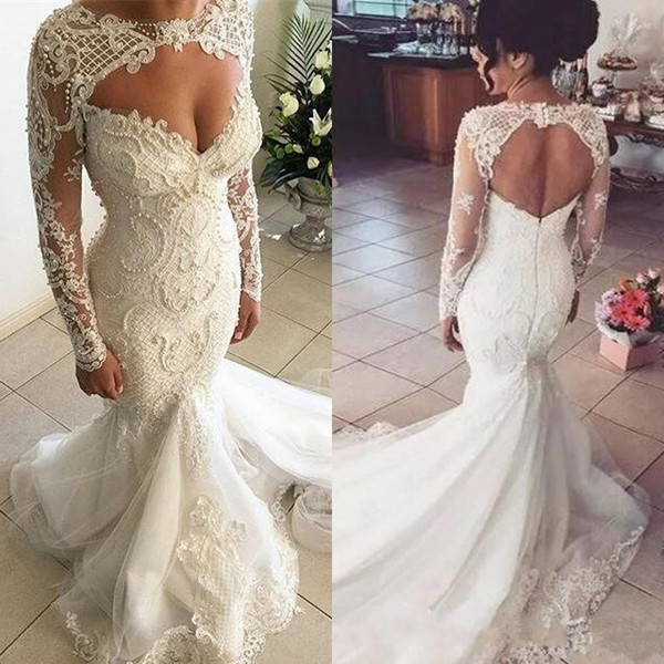 Gorgeous Sweetheart Long Sleeve Wedding Dresses 2019 Mermaid Lace Beaded Bridal Gowns Charming Luxury Selling WeddingGowns