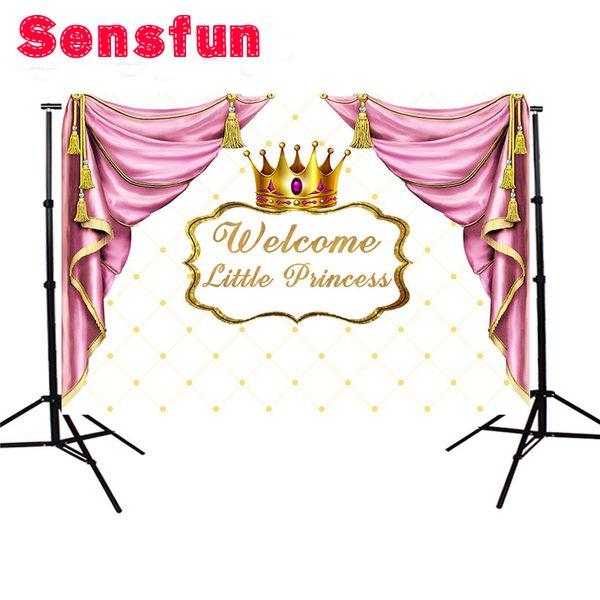 Großhandel Prinzessin Gold Crown Taufe Geburtstag Kulisse Hintergrund 7 x 5ft rosa Vorhang Baby Shower Party Banner Fotostudio