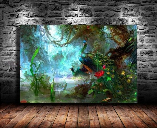 Two Peacocks Walk In Forest Beautiful Bird Feathers Handpainted Animal Wall Art Oil Painting On Canvas Home Deco Mulit sizes /Frame Options