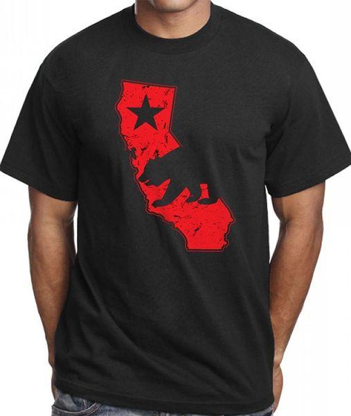 Plain T Shirts Crew Neck Short-Sleeve Printing Machine Mens Men's California Vintage Map T Shirt Red Distressed Design T Shirts